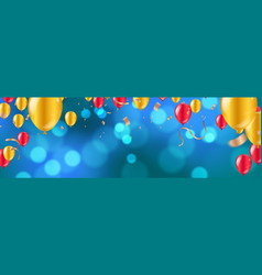 celebration glossy golden and red balloons with vector image