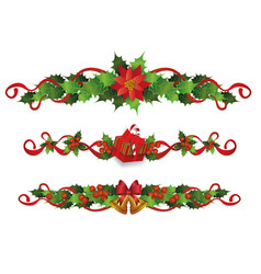 christmas holiday border set - red holly berries vector image