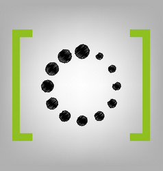 Circular loading sign black scribble icon vector