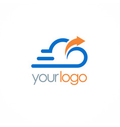 cloud upload technology logo vector image