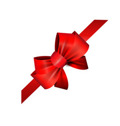 Corner red ribbon and bow vector