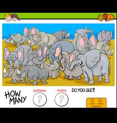 counting elephants and rhinos game for kids vector image