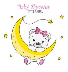 Cute bear on the moon vector