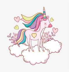 cute unicorn in the cloud with hearts and plants vector image