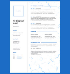 Cv template minimalist resume web page job vector