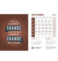 Desk calendar template for 2018 year september vector