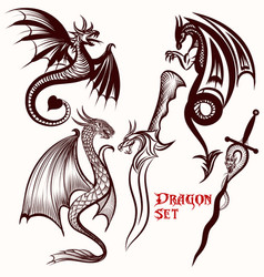 Dragon set for tattoo design vector