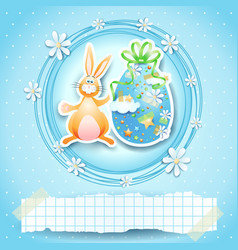 easter card with egg bunny and copy space vector image