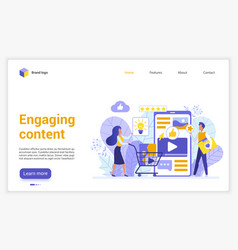 Engaging content website flat design landing page vector