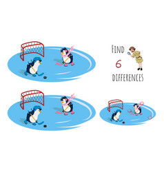 Find 6 differences educational game for children vector