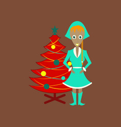 Flat on background of christmas girl and fir tree vector
