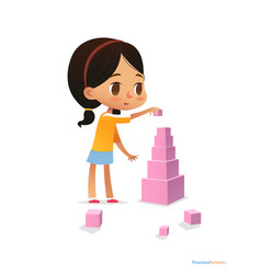Girl with dark hair stands and builds tall pyramid vector