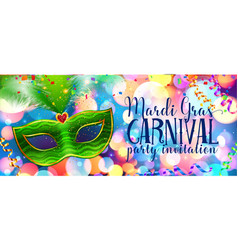 green carnival mask on colorful bokeh background vector image