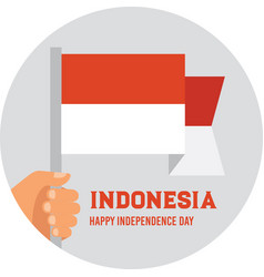 Hand holding and raising the national flag vector