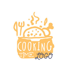 handmade cooking logo with abstract hot dish and vector image