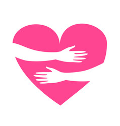 Hands hugging heart isolated on a white vector