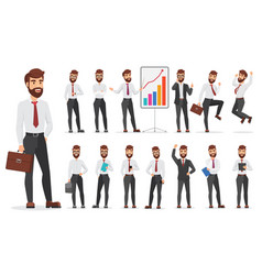 Handsome office businessman character different vector