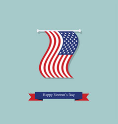 hanging flag and ribbon on the day of americas vector image