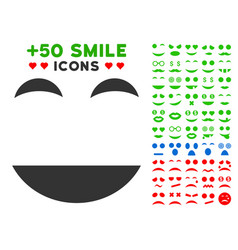 happy smile icon with bonus smile collection vector image
