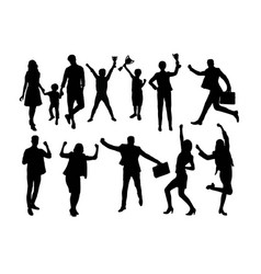 happy winner silhouettes vector image