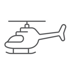 Helicopter thin line icon transportation and vector