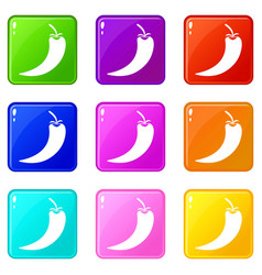 Hot chili pepper icons 9 set vector