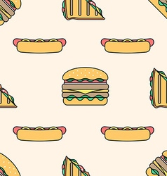Hot dog club sandwich burger colored outline vector