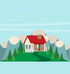 house flat style mountains and trees vector image