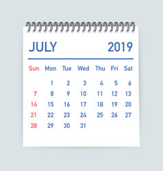 July 2019 calendar leaf calendar 2019 in flat vector