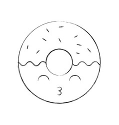 kawaii sweet donut dessert pastry cartoon vector image
