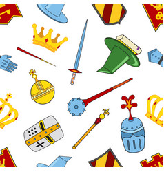 Kingdom pattern - castle spear shield knights vector