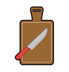kitchen board with knife vector image