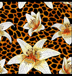 lily tiger type on orange leopard skin pattern vector image