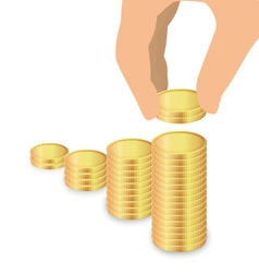 Male Hand Increase Stack Of Coins Increase Savings vector