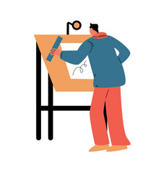 Man architect standing backwards and drawing vector