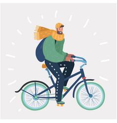 man riding in bike on winter landscape vector image