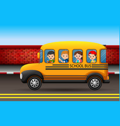 many children on a school bus vector image
