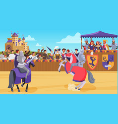 medieval knight joust battle vector image