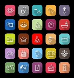 Meditation line icons with long shadow vector