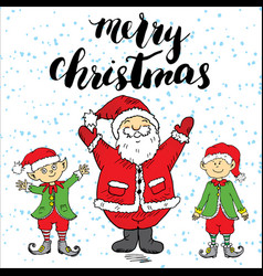 Merry chistmas lettering hand drawn with santa vector