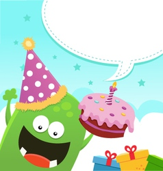 Monster Birthday Message vector