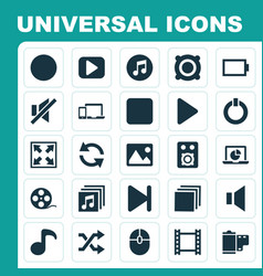 Multimedia icons set collection of power quaver vector