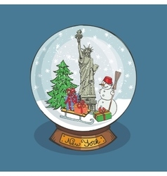 New york Christmas Snow globeDoodle landmark vector