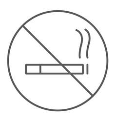 no smoking thin line icon forbidden and stop no vector image