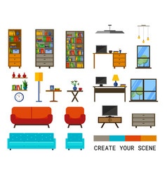 office interiors creation kit vector image