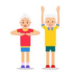 old people and sports grandparents perform health vector image