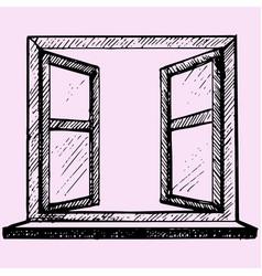 opened blank window frame vector image