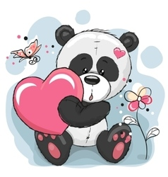 Panda with heart vector