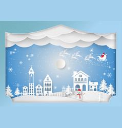 Paper art style winter holiday for christmas vector