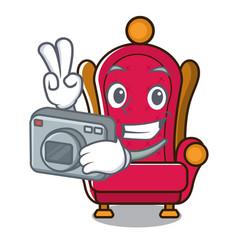 photographer king throne mascot cartoon vector image